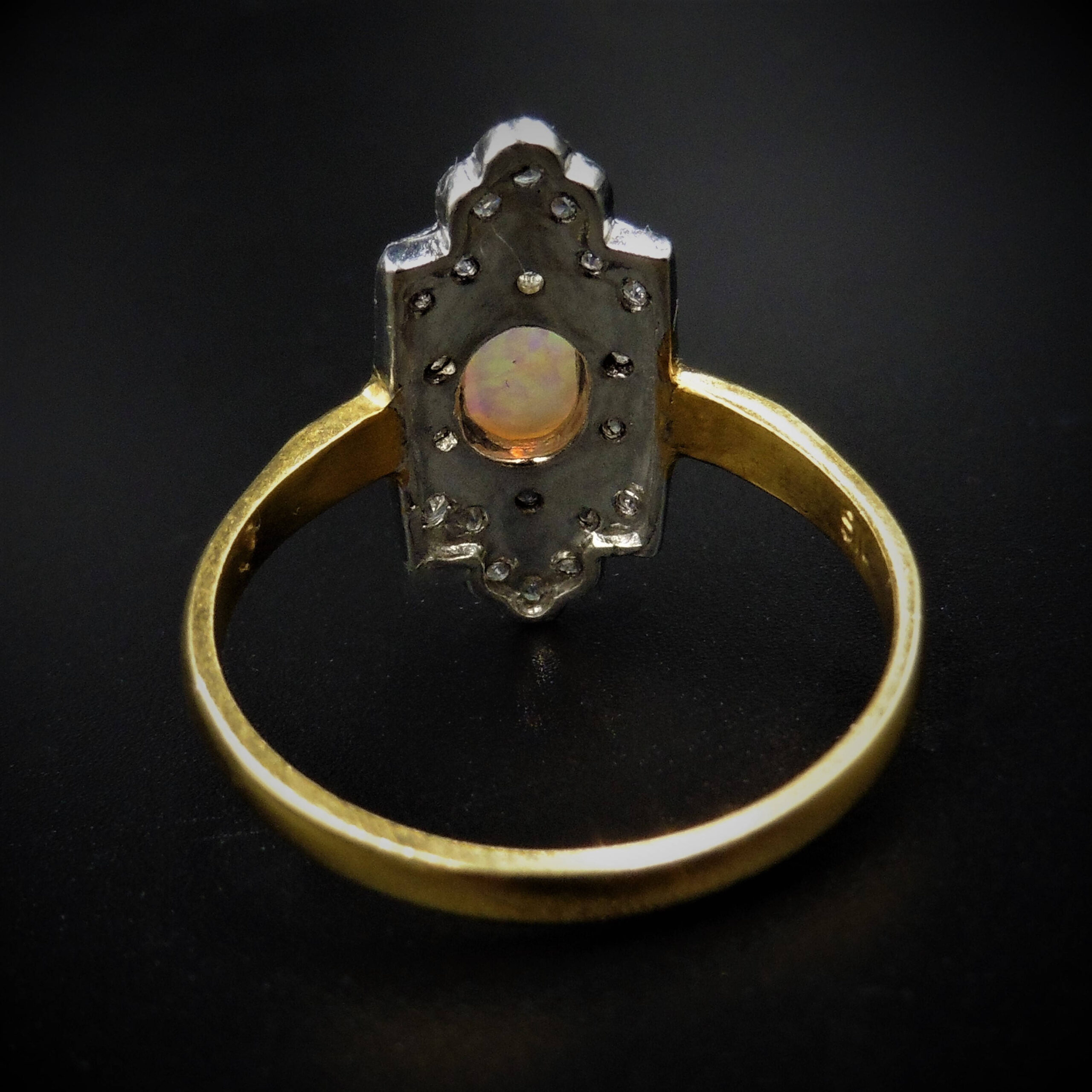Opal And Paste Navette Marquise Oblong 18ct Gold Gilded Silver Ring Art Deco Style Lancastrian Jewellers