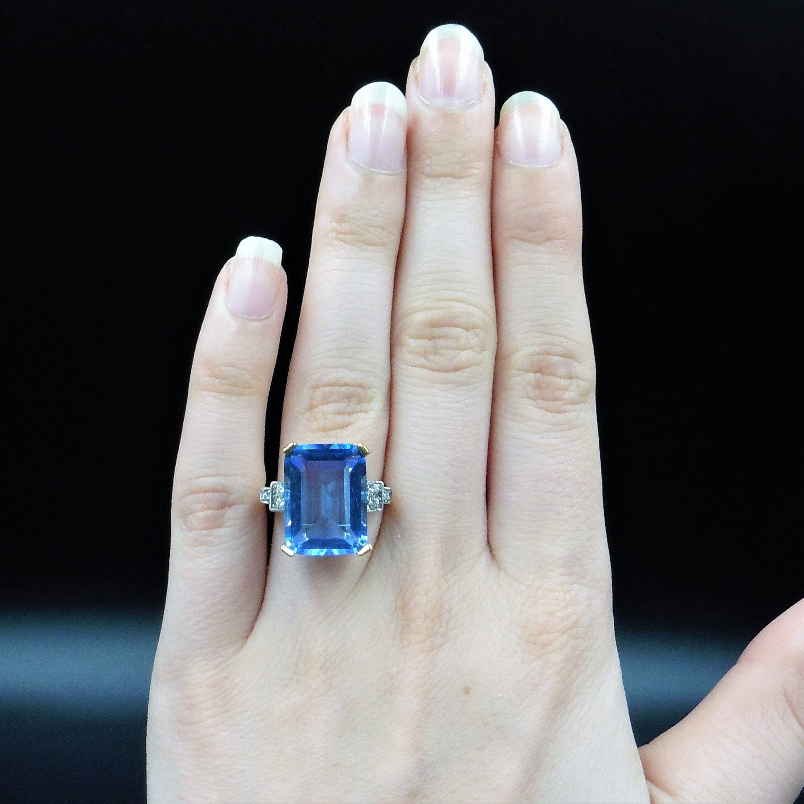Blue Aquamarine Glass Paste Emerald Step Cut 18ct 18k Gold Gilded Silver Ring Art Deco Style Lancastrian Jewellers
